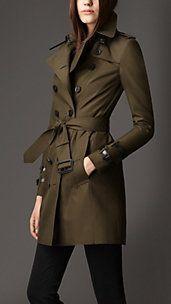 Mid-Length Leather Detail Gabardine Trench Coat