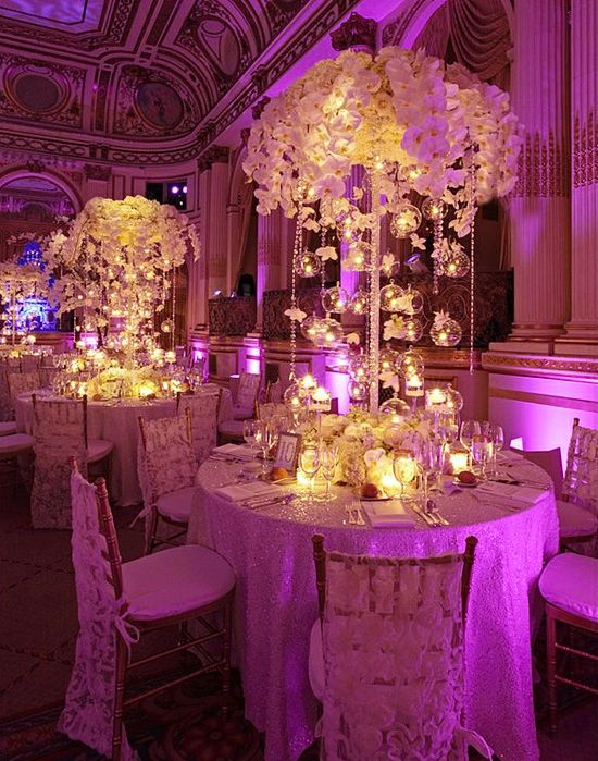 Fantastic Centerpieces At This Pink Uplighting Wedding Reception Diy
