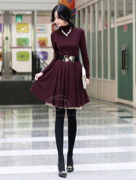 Elegant High Neck Long Sleeve Solid Color Knitting Dress For Women With Blet (CLARET) China Wholesale - Sammydress.com