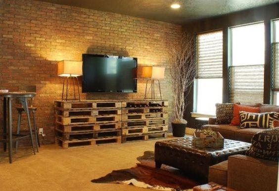 Palettenmöbel Regale Wohnzimmer-Design Ideen