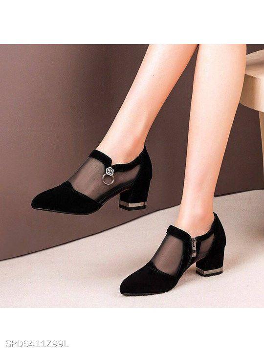 Elegant Women Mid Block Heel Shoes Pumps Round Toe Casual Slip On Patent Leather