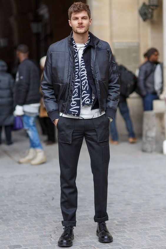 We snap Jim Chapman in Paris wearing a Monochrome style outfit with cargo trousers and bomber jacket.