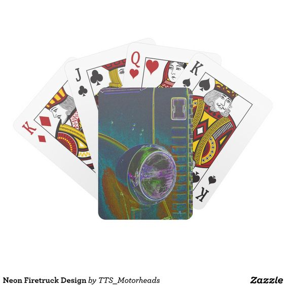 Neon Firetruck Design Playing Cards for sale at: http://www.zazzle.com/tts_motorheads #cards #playingcards #classiccar #headlight #classictruck #carplayingcards