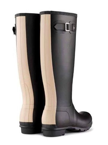 Hunter Original Stripe Rain Boots BLACK/BISCUIT - BK's Brand Name ...