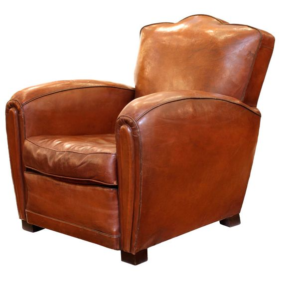 Art Deco Period Leather Club Chair Armchairs Art Deco