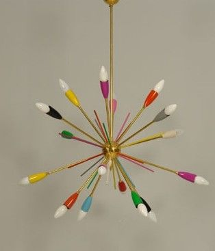 Colorful mid century chandelier - just thinking about the hall - alternative to spots…..one would need x3