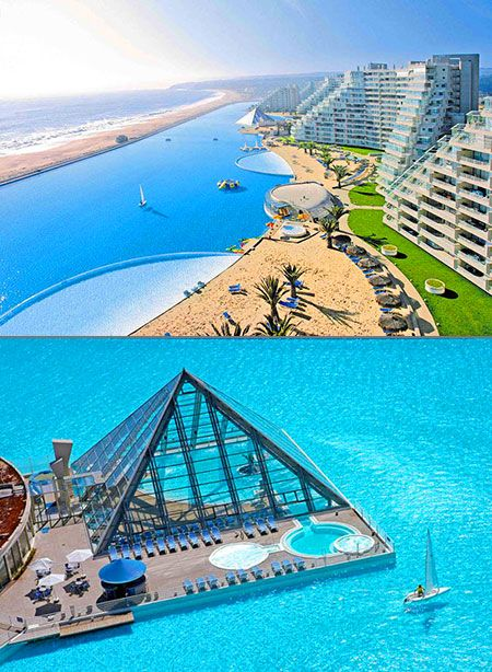 World's largest swimming pool at the San Alfonso del Mar resort in Chile. It spans 1 kilometre (0.62 mi) long, covering an area of 19 acres (7.7 ha), with a maximum depth of 115 feet (35 m) and holding 66,000,000 US gallons (250,000,000 l; 55,000,000 imp gal) of seawater.