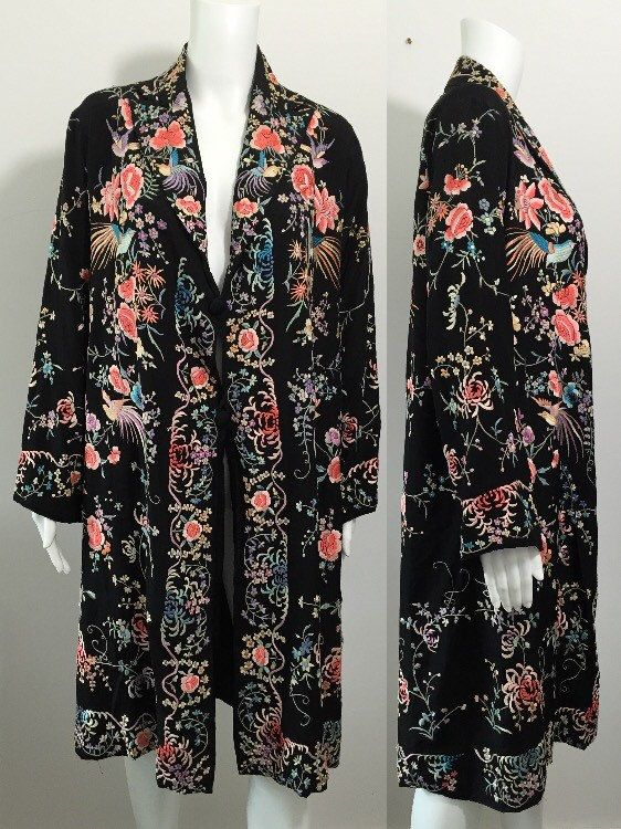 1930's Heavily Embroidered Chinoiserie Coat by MayCottagePrints