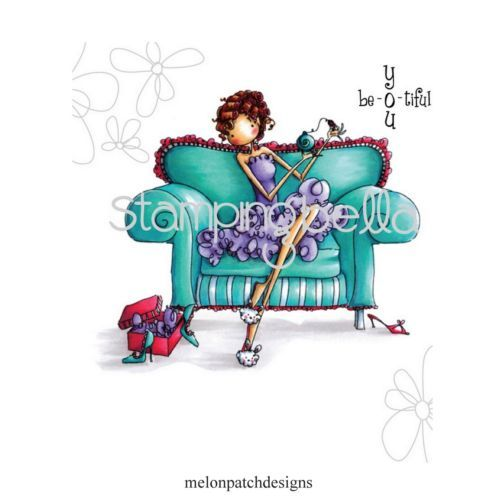 Stamping-Bella-Uptown-Girls-POLLY-LOVES-PERFUME-Cling-Mount-Rubber-Stamp-eb245