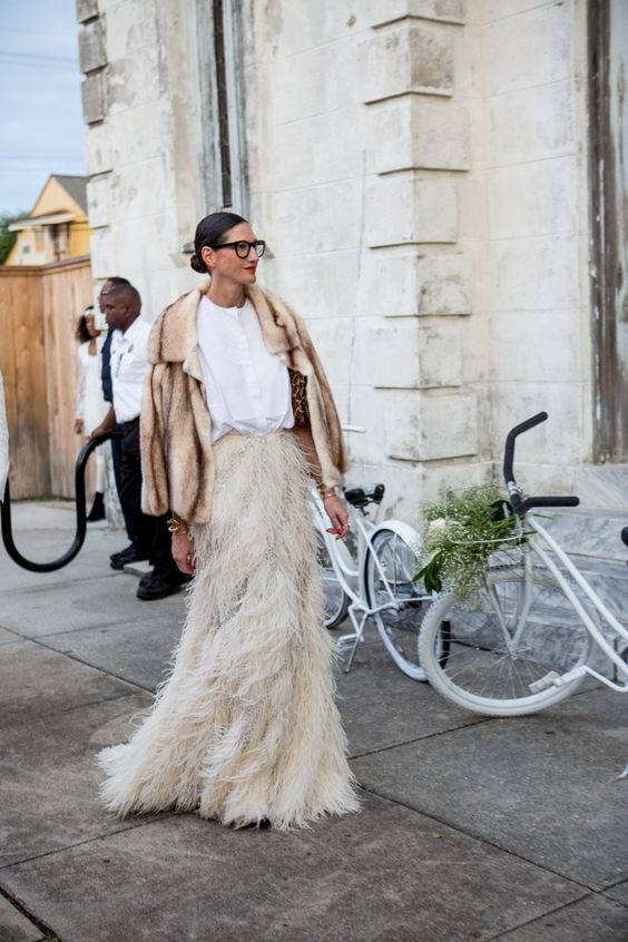 Jenna Lyons Is Stunning in Fur and Feathers at Solanges Wedding: