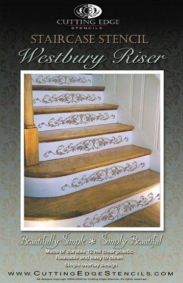 Cutting Edge Schablonen bietet die beste Schablonen für DIY Dekor - Schablonen von professionellen dekorative Maler Janna Makaeva und Greg Swisher entworfen. Wir stehen hinter unserem Produkt und sind stolz auf unsere 100 % positives Feedback :)  Zu guter Letzt eine Schablone für die Treppe Frühaufsteher! Elegante Schablone, die schlichte langweiligere Treppe mit stilvollen Ornamenten auf jedem Schritt zu verschönern. Sehr einfach zu bedienen, nur Band Schablone in legen und mit einer…