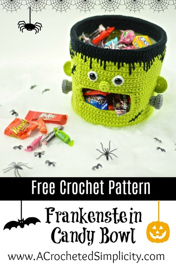 Free Crochet Pattern - Frankenstein Candy Bowl by A Crocheted Simplicity #freecrochetpattern #crochetfrankenstein #crochethalloweenbowl #hallowendish #candybowl #candydish #halloweencandybowl #crochet