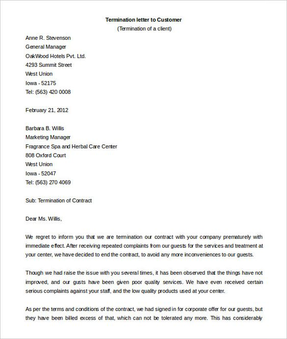 contract termination letter template free sample example format - letter termination