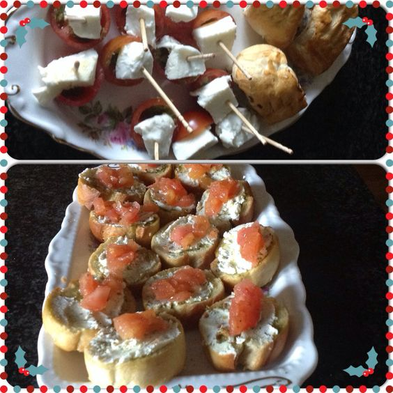 Christmas Canapés. Bruschetta, mozzarella and cherry tomato nibbles with pesto. Home made sausage rolls. All recipes take from Delia Smith's Christmas recipe book.