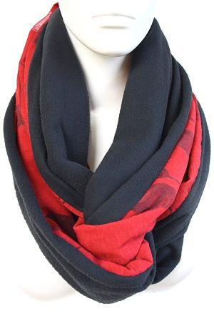 Schlauchschal Damen in schwarz & rot aus Baumwolle & Fleece