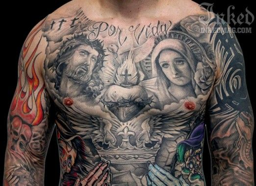 Black and grey religious chest piece by big gus for Religious chest tattoos