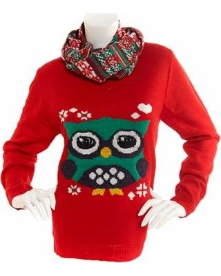 owl sweater and scarf set - I just bought this sweater. I'm totally set for ugly Christmas sweater parties next year. And it's actually kind of cute.