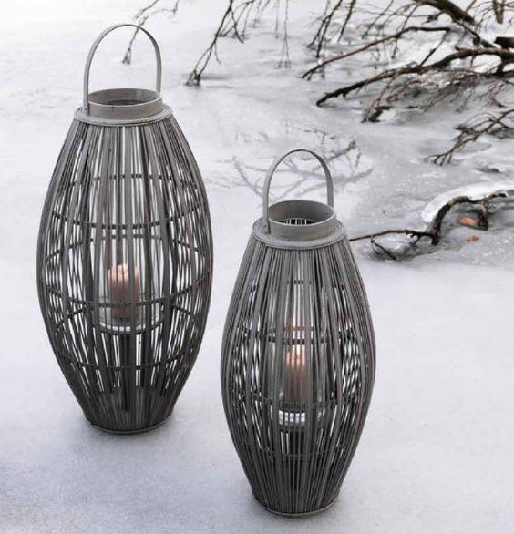 Lanterne aleta en bambou et bois gris pigeon pour bougie for Terrasse balcon decoration