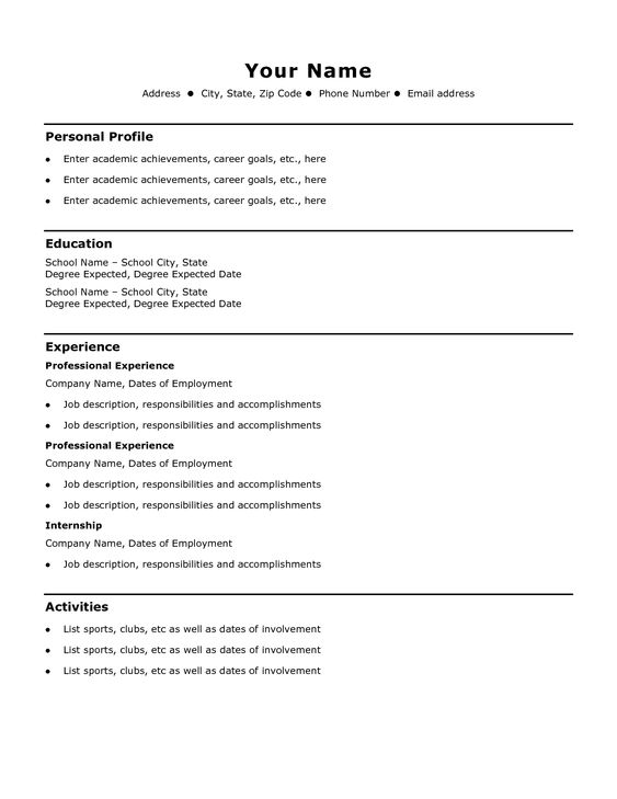 Resume Builder Free Resume Template (US) LawDepot Dibujos - ou optimal resume