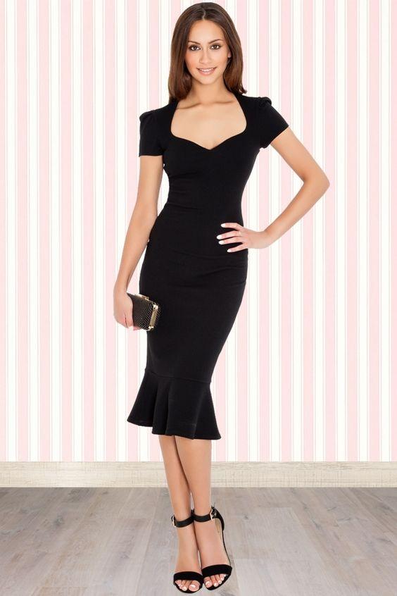 Vintage Chic - 50s Demure Pencil Dress in Black  Little Black ...