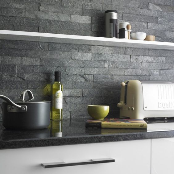 Grey Kitchen Tiles Wall: 36x10 Split Face Black Sparkle Kitchen Wall Tiles