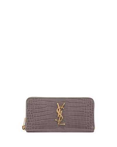 Monogram Crocodile-Embossed Zip-Around Wallet
