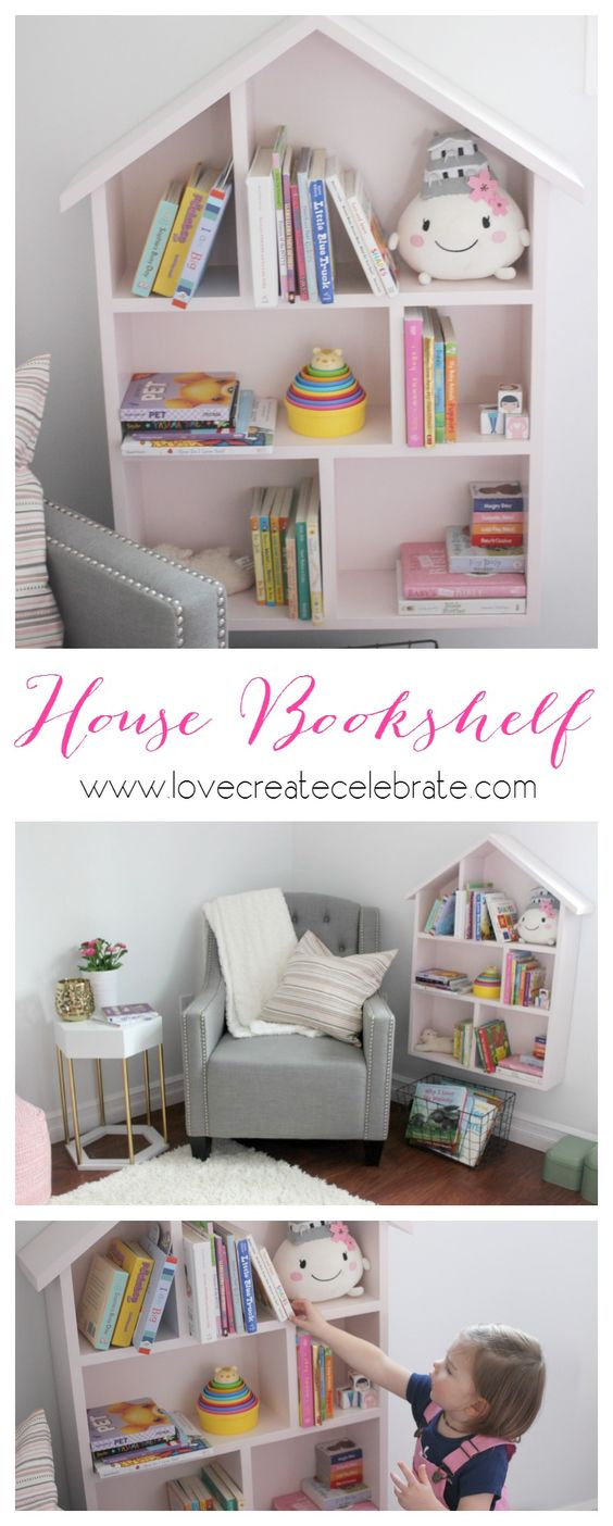 House bookshelf childs bedroom a house and child room - Adorable dollhouse bookshelves kids to decorate the room ...