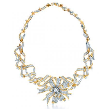 Set with over 1,000 round brilliant diamonds, this is the Jean Schlumberger Ribbon Rosette Necklace from Tiffany and Co.