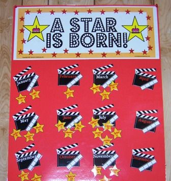 """Cute birthday bulletin board idea. The classroom was themed """"hollywood"""", but the board would be cute in any classroom."""