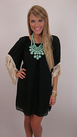 Chunky ivory fringe takes a simple black dress and turns it into a fashion masterpiece!  $78