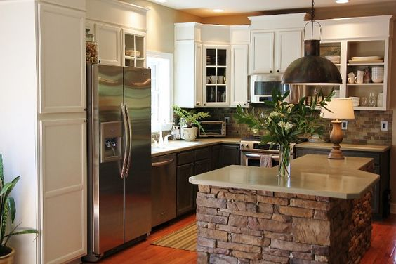 Love this stone kitchen island!