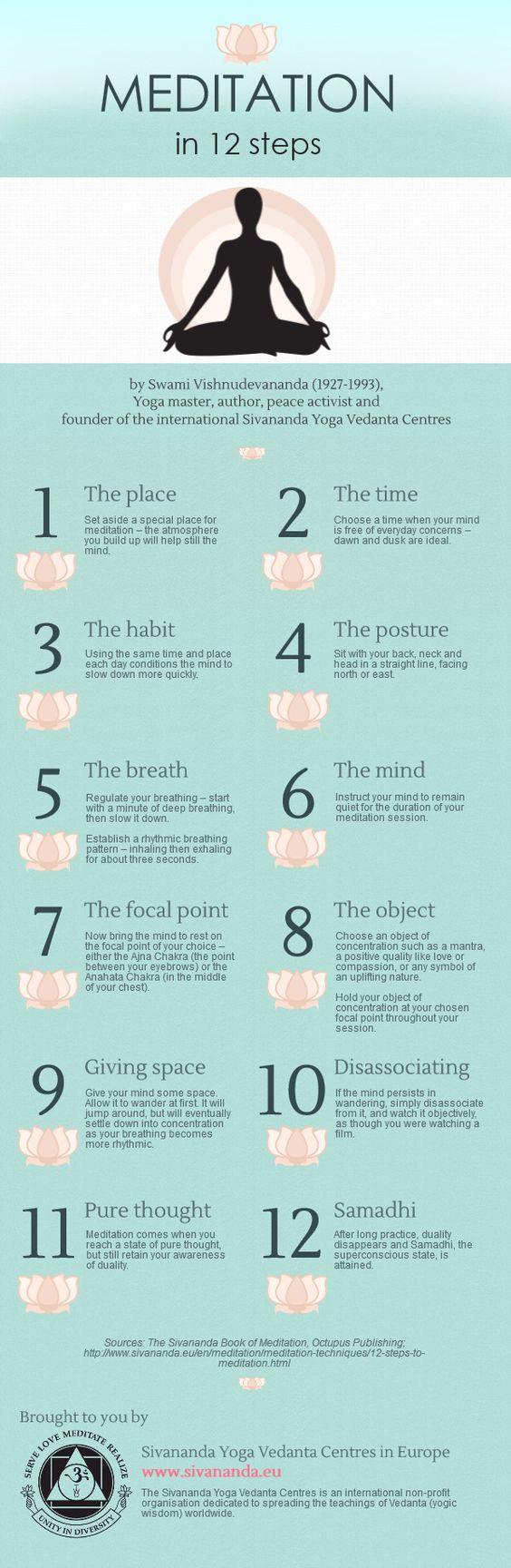 Meditation in 12 Steps infographic  #yoga