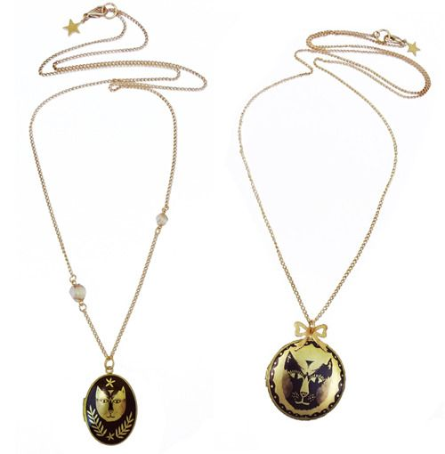 Handmade cat lockets by Lee May Foster at The Shop Floor Project. #crafts #jewellry #cats
