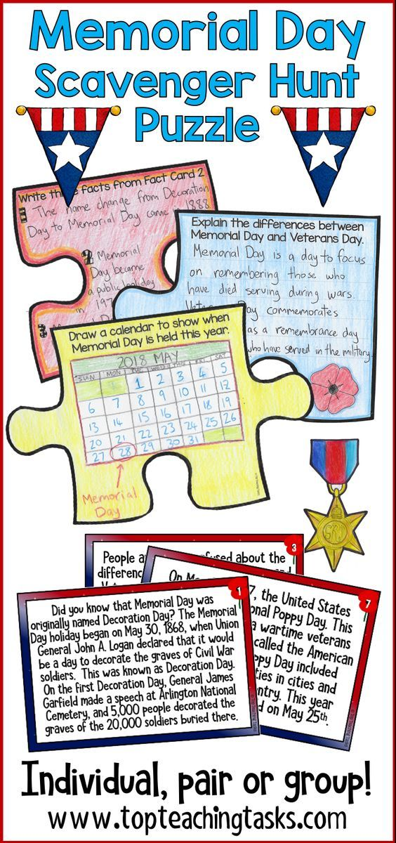 Memorial Day Activities Scavenger Hunt Reading Comprehension Activities Reading Comprehension Activities Memorial Day Activities Comprehension Activities