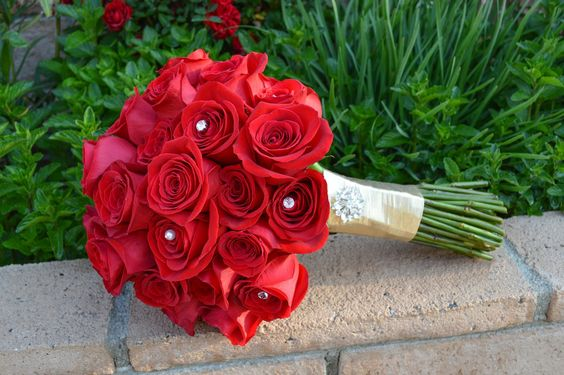 red bouquet with bling - Google Search