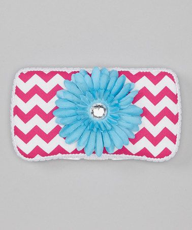 Take a look at this Hot Pink Zigzag & Turquoise Gem Flower Diaper Wipe Case by Diapers & Denim on #zulily today!