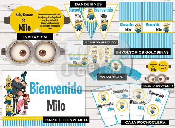 Baby Shower Milo - Temática Minions - Diseño de Tarjeta de Invitación, cartel de bienvenida a la fiesta, Banderines, envoltorios para golosinas, Wrappers, Tarjeta souvenir, Círculos multiuso, Caja pochoclera y etiquetas para botellas.