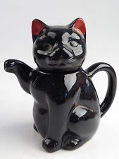 Vintage Black Cat Figurine Statue Porcelain Pottery Ceramic Teapot Tea Pot