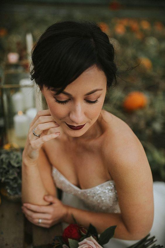 Make Up Bride Bridal Red Lip Pumpkin Field Autumn Wedding Ideas http://www.jessicajweddingphotography.co.uk/
