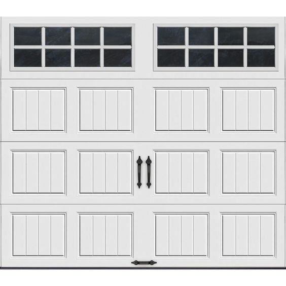 Clopay Gallery Collection 8 Ft X 7 Ft 6 5 R Value Insulated White Garage Door With Sq24 Window Gr1sp Sw Sq24 The Home Depot White Garage Doors Garage Doors Garage Door Styles