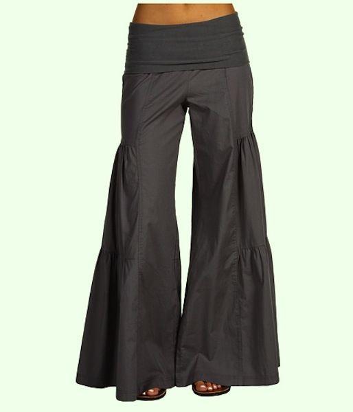 $39.99  XCVI Fold over side tier palazzo pants Army Gray NWT L