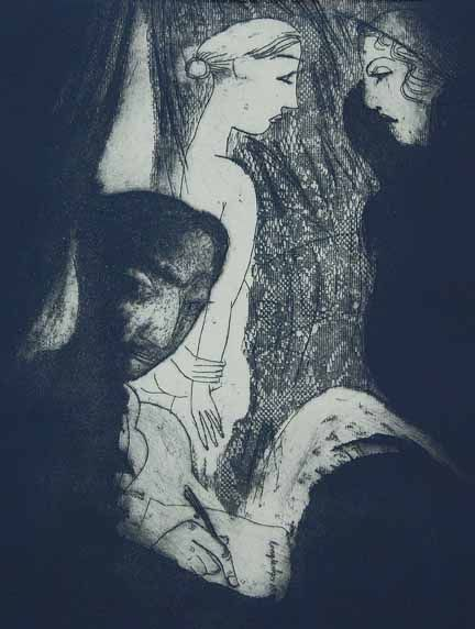 """Ruth Channing - """"Longtemps"""", etching, 2009, 24 X 18"""""""