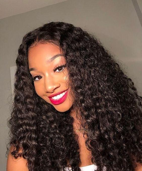 Deep Wave Virgin Hair Bundles Natural Sew In Style In 2020 Natural Hair Styles Curly Hair Styles Wig Hairstyles
