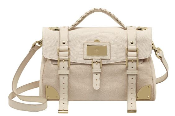 Mulberry Travel Day Bag Mixed Material Haircalf Marshmellow White