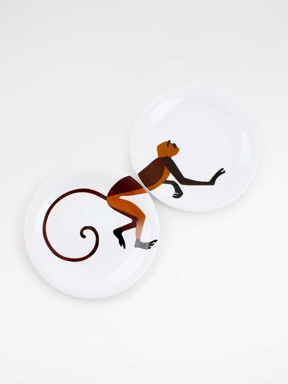 par de pratos jantar macaco
