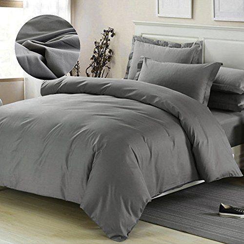 Hootech Duvet Cover With Zipper Closure Super Soft Microfiber Bedding Cover Solid Color Modern Design Dark Grey Duvet Covers Grey Duvet Gray Duvet Cover