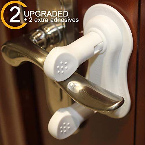 Betertek Door Lever Lock 2 Pack 2 Extra Adhesives Reusable Baby Door Handle Child Proof Door Locks Ba Child Proofing Doors Door Handles Baby Proofing Doors