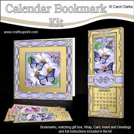 Floral Butterflies Everlasting Calendar Bookmark Gift Set