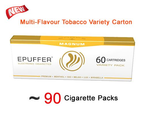 VARIETY TOBACCO BULK CARTOMIZER 60-PACK - http://evaper8.co.uk/product/magnum-snaps-variety-tobacco-bulk-cartomizer-60-pack/