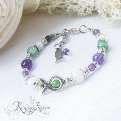 Bracelet enfant , agate, jade, améthyste